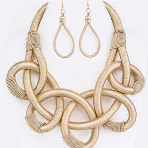 New Twisted Rope Necklace and Earring Set